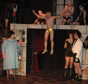 Rocky (Ronnie Whittaker, III) leaps into action after being created in Theatre Bristol's production of The Rocky Horror Show special New Year's Eve performance on Friday, December 31st at 8 p.m
