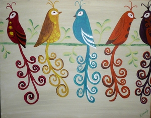 Our Family —» You can paint the number of people in your family and display their personalities with color and style of bird... also, have the option of glueing on real feathers to add some fun!
