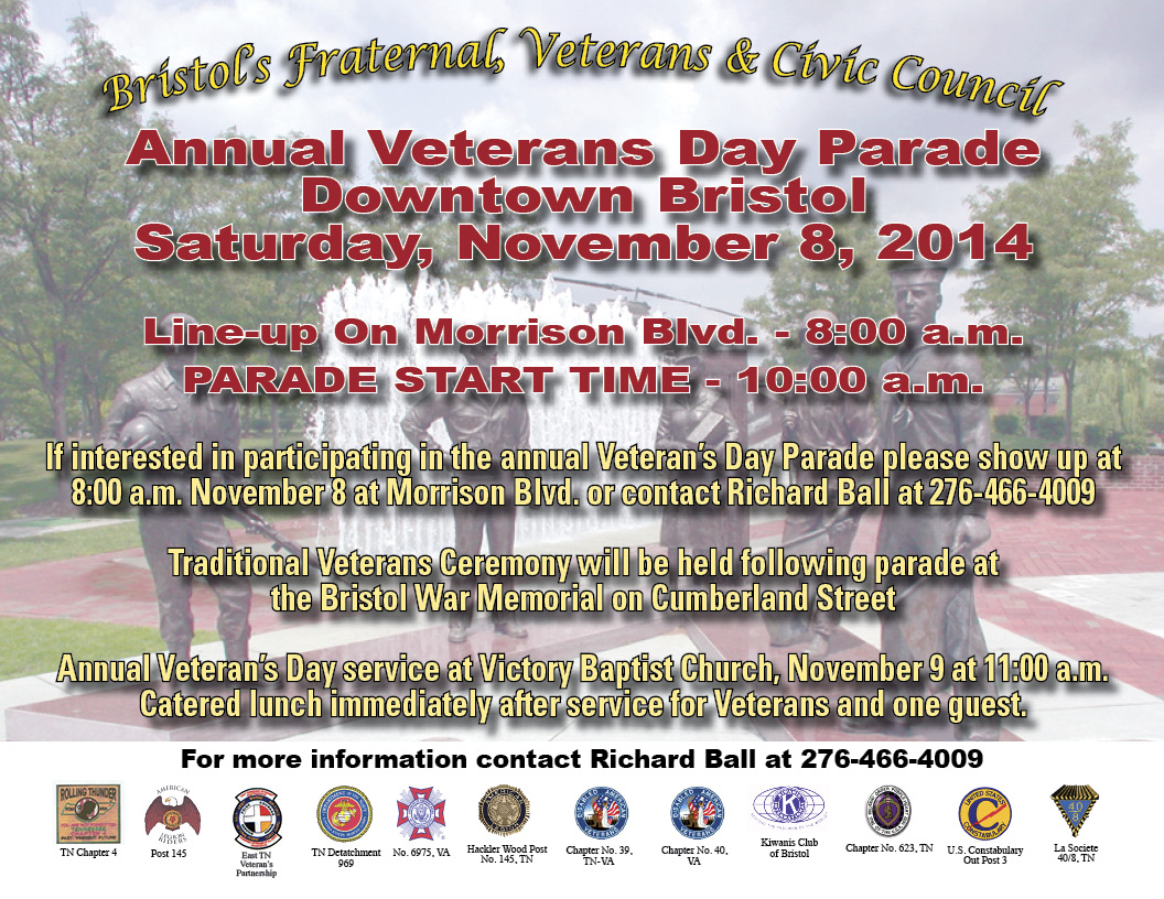 52738ad9a41c Vetertans Day Parade   Traditional Memorial Service in Downtown Bristol!