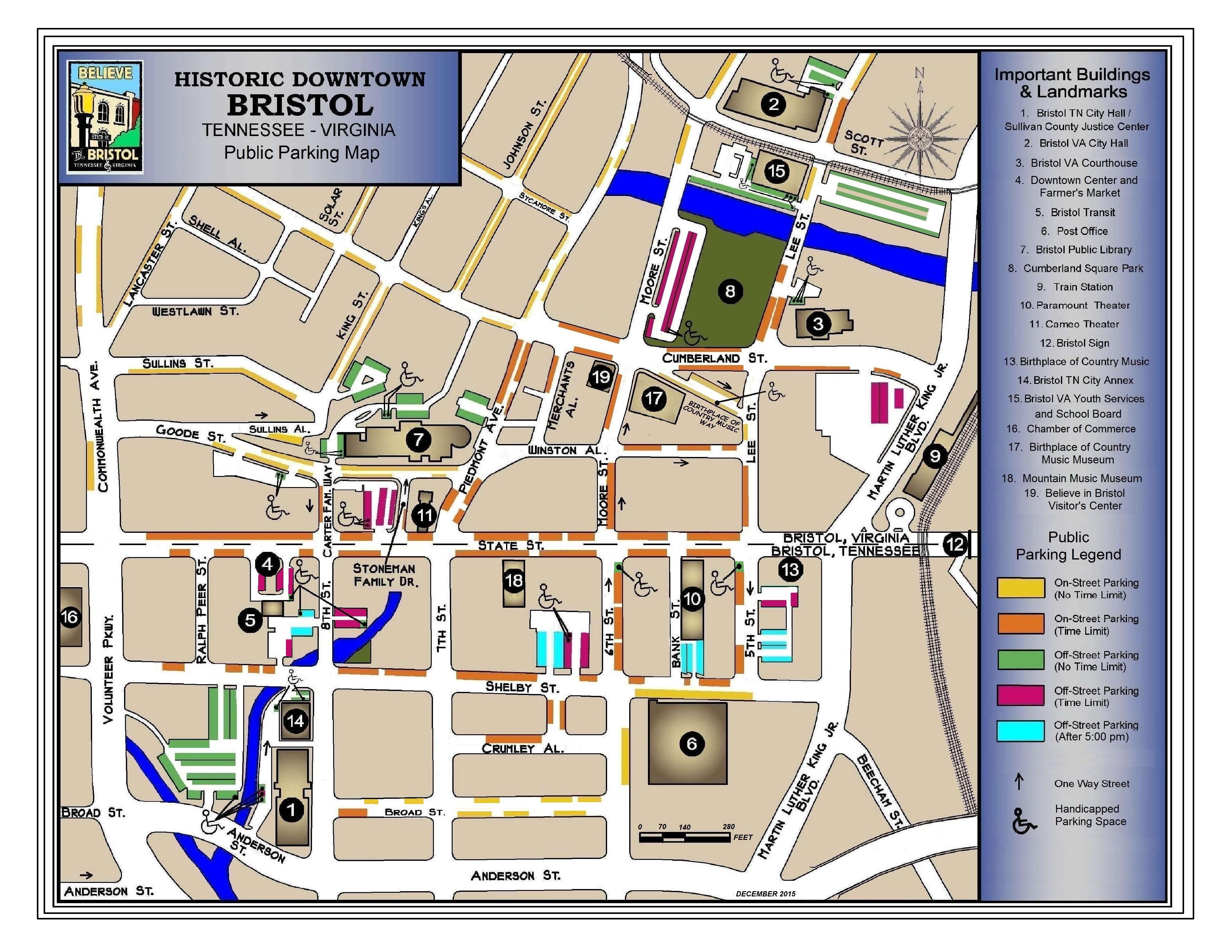 Downtown bristol tnva visitors center believe in bristol downtown bristol parking map publicscrutiny Gallery